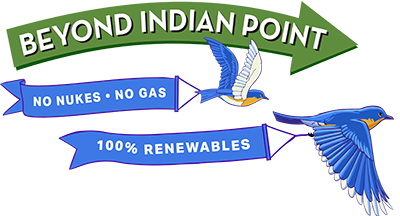 Beyond Indian Point logo with two flying birds dragging renewable energy banners behind them
