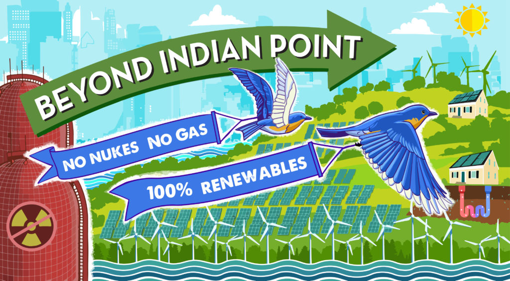 Banner showing Beyond Indian Point logo against a landscape of renewable energy in practic