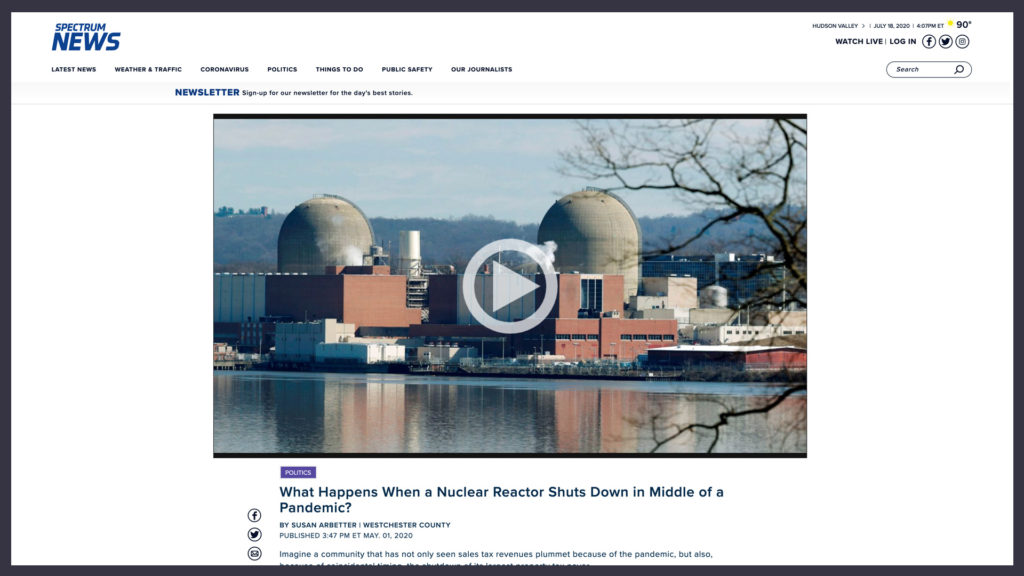 Capitol Tonight article with an image of Indian Point nuclear power plant near the top