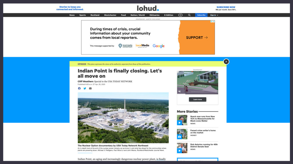 article on the website lohud discussing the closure of the Indian Point Nuclear Power Plant