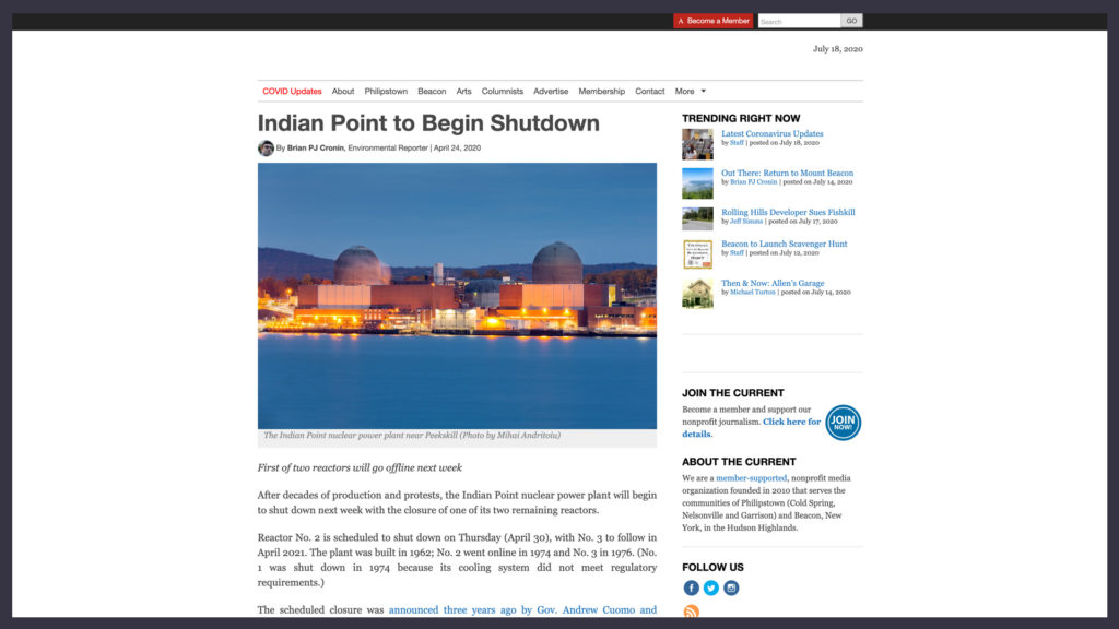 article on the Highlands Current website discussing the closure of the Indian Point Nuclear Power Plant