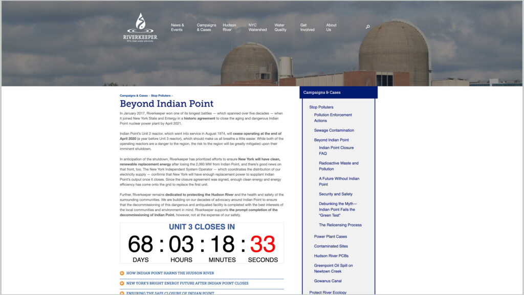 Riverkeeper website page on the dangers of Indian Point